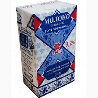Оптом молоко Тяжин 3, 2 % ультра пастерезованное