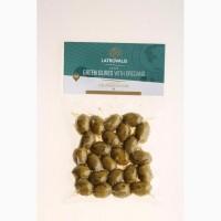 Зеленые оливки с орегано в vac box 200 gr - Greece